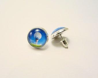 GOLF BALL on the TEE Petite Silver Stud Earrings --  Golf art earrings for her, For lady golfer