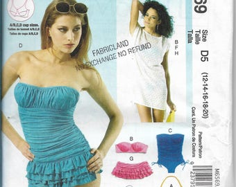 McCalls 6569 Swimsuits Bikinis and Cover-ups, Tops Bottoms Sizes 12 to 20 Sewing Pattern, Factory Folded