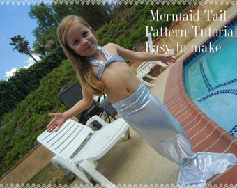 Mermaid Tail Pattern and Tutorial, 2 Sizes, pdf, Instant Download, Dress Up Play