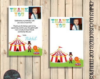 Circus Birthday Thank You Note, Carnival Birthday Thank You Notes, With Message or Blank Card, With Photo, First Birthday Printable Digital