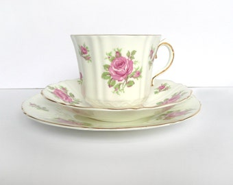 Vintage tea set  - English bone china - pink rose tea cup, saucer and plate
