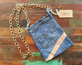 Small evening bag denim and gold