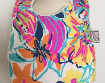 multi besame mucho ~ baby bib ~ lilly pulitzer ~ chic couture ~ boutique quality ~ baby bib from lillybelle designs