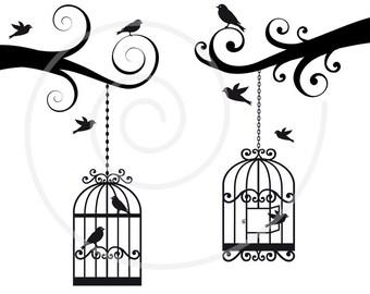 Birdcages digital clip art set, birdcage clipart, birds clip art, illustration, print, printable, png, jpg, EPS, SVG files, instant download