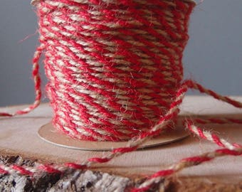 2.5mm x 50 Yards RED Decorative Two Tone Burlap Jute Rope Twine