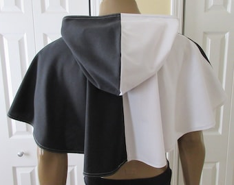 Hooded Cowl Black and White Elven Medieval Woodland
