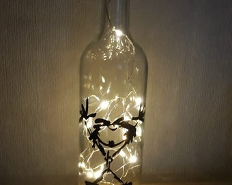 Handcrafted LED Bottle Lamp.  Pearl Jam