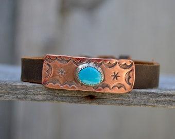 Distressed Leather Kingman Turquoise Slide Bracelet . Handmade. Sterling  . Copper . South Western . Bracelet