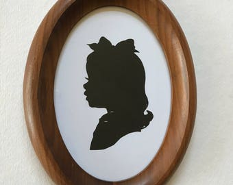 FRAMED Custom Silhouette in Real Vintage Wood Oval Frame