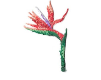 Bird Of Paradise - Flower - Tropical - Embroidered Iron On Applique Patch