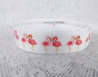 Flamingo ribbon 1 inch Pink flamingo grosgrain ribbon Flamingo Print Grosgrain Ribbon