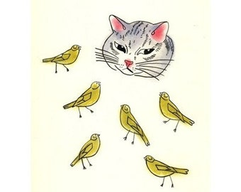 """Cat Art - The Cat and the Canaries  4 for 3 SALE -  8.3"""" X 11.7"""" print"""