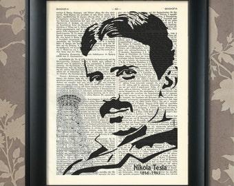 Nikola Tesla Print, Nikola Tesla Poster, Nikola Tesla art, Nikola Tesla wall art, Nikola Tesla Decor, Dictionary Art, Scientist, Inventor
