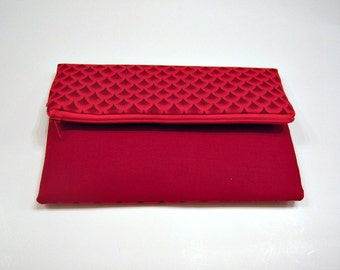 Red Scallop Fold Over Clutch
