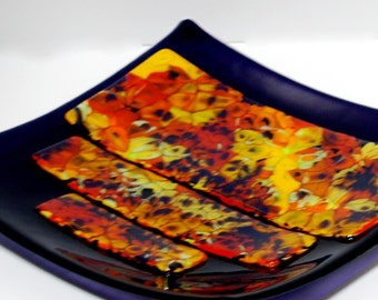 Fused Glass Purple Sushi Plate with Boiled Orange