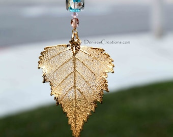 Gold Birch Electroplated Leaf Christmas Ornament by Denise Sloan