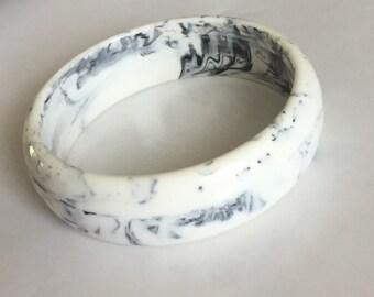Off White and Black Marble Lucite Plastic Bangle Bracelet Curved & Rounded Vintage Marbled Chunky Lucite Bangle Bracelet Offered by 4SweetK