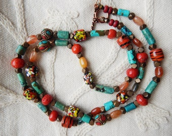 Vintage Turquoise Gemstone and Vintage Glass Trade Beads Necklace