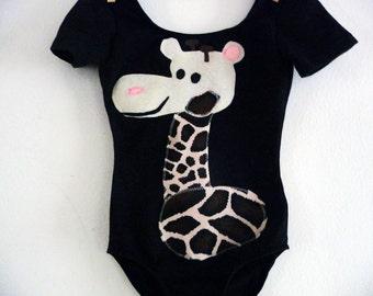 GIRAFFE LEOTARD- Zoo Birthday - Zoo Party- Toddler Leotard -Gymnastics Party Leotard - Personalized