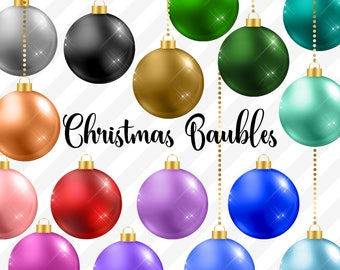 Christmas Baubles Clipart, Christmas Balls, Christmas Ornaments, ball ornaments, red green and gold christmas tree decoration graphics