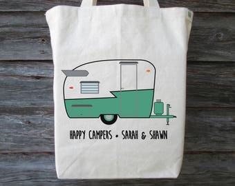Vintage Camper Tote, Personalized Vintage Trailer Tote, Cotton Tote, Camper Tote, Retro Camper, Shasta Trailer, Vintage Shasta Trailer