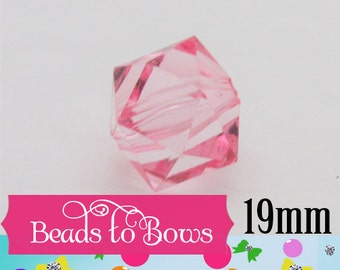 19mm 10Ct. 1.99 Pink Faceted Ice Cube Bead, Chunky Bubblegum Ice Cube Bead, Bubblegum Bead, Cubed Transparent Beads, Chunky Necklace Supply