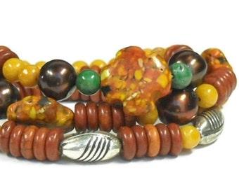Stacking Bracelets, Mixed Gemstone Bracelets, Multistrand, Autumn, Multi Strand Bracelet, Fall, Orange, Yellow, Green, Chunky, Boho Jewelry