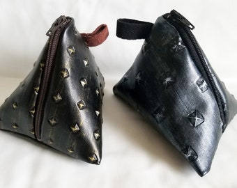 Leather Triangle Coin Pouch Small
