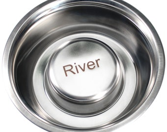 """Personalized Stainless Steel """"Not So Fast"""" Dog Bowl"""