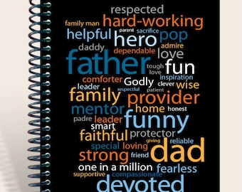 Dad Word Cloud Notebook / Prayer Journal / Father's Day personalized gift