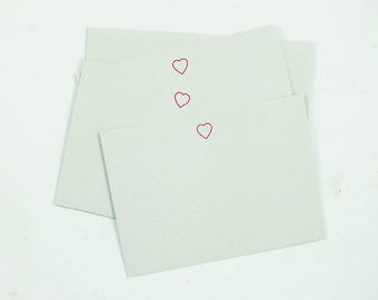 Set of 6 Letterpress Heart Notecards