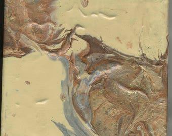 Abstraktes Acryl Gießen #50 91717 Malerei 6 x 6-Gold Silber Bronze Kupfer zwei-Paar-Original-Home Decor-Geschenk-erschwinglich-Acryl PourTechnique