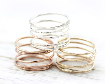 Wrapped ring - sterling silver or yellow / rose gold filled ring