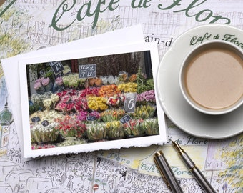 Paris Photography Notecard - Rue Cler Market Spring Flowers, Stationery, Blank Card, Greeting Card, White Deckle Edge