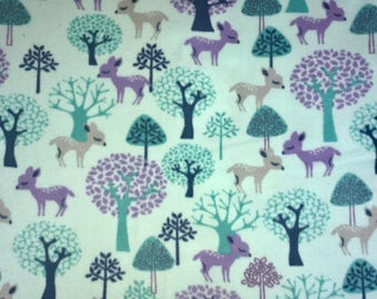 """Fabric Listing Only - Fawn Doe Forest Fleece Fabric - 62"""" x 33"""" - Purple Aqua Turquoise Woodsy - Fabric Only"""