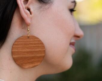 Large Cherry Wood Circle Earrings