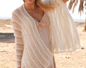 Knit Shawl,Hand Knit shawl/knitted shawl / knitted wedding shawl / knit poncho made to order