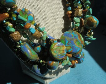 Turquoise. Lime Greens. Blue and Golden Multi Strand Polymer Clay. Stone and Glass. Beaded Necklace by Artist, Anita Berglund