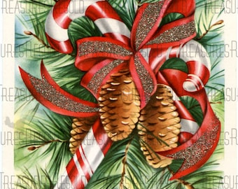 Candy Cane Pine Cone Christmas Card #216 Digital Download