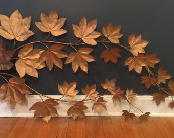Large Vintage Branch with Leaves Wall Sculpture