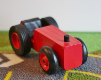 Toy Red Farm Tractor - Handcrafted Wooden Red Toy Farm Tractor - Farm Garden Tractor