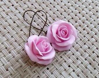 Pink earrings, pink rose earrings,  bridesmaid gift, bridesmaid earring set,  pink earrings