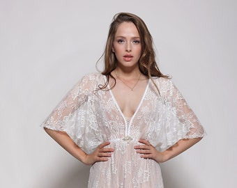 Bohemain lace wedding dress, wedding lace dress, low back wedding dress, low back wedding dress