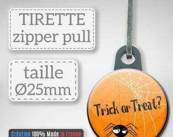 Zipper Halloween Trick or Treat candy or spider prank gift party Badge Zipper 25 mm