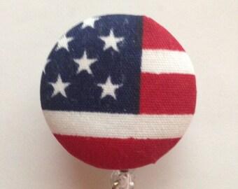 Du 4 juillet rouge blanc bleu bouton couvert rétractable insigne patriotique moulinets ID titulaires