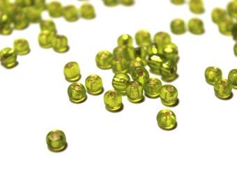 Green Glass Beads, Green Silver Lined Beads, Glass Beads, Crow Beads, Green Beads, Czech Glass Crow Beads, Green Glass Beads, Silver Lined