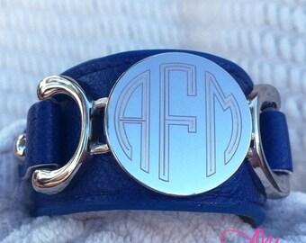 Monogram Leather Bracelet, Monogram Blue Leather Bracelet