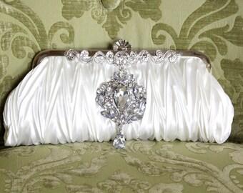 Ivory Clutch, Vintage Style Bridal Clutch, Satin Bridal Clutch, WeddingClutch Purse, Rhinestone Clutch