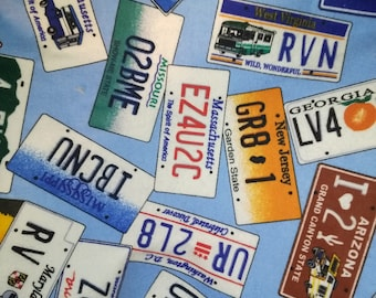 Blue Flannel License Plate Fabric