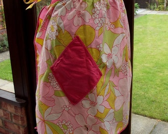 Vintage Apron - a Pink Yellow and Green Apron - Handmade